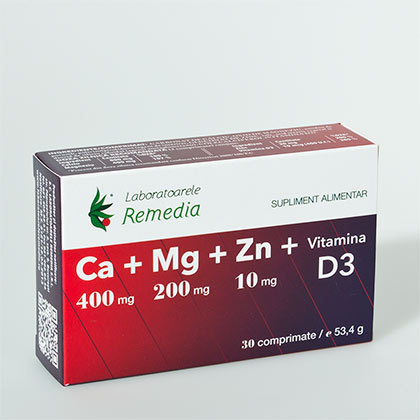 Ca + Mg + Zn + Vitamina D3 30 cpr