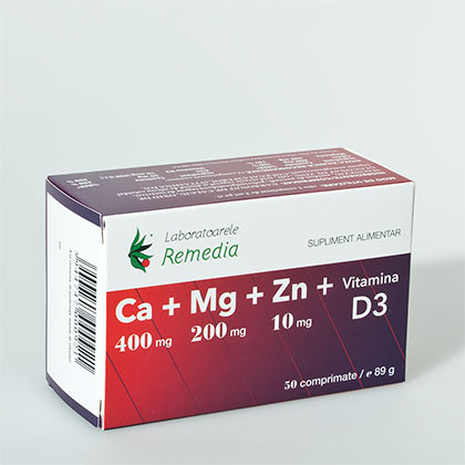 Ca + Mg + Zn + Vitamina D3 50 cpr