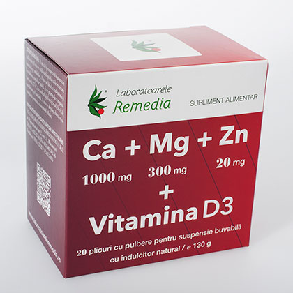 Ca+Mg+Zn+D3 20 plicuri