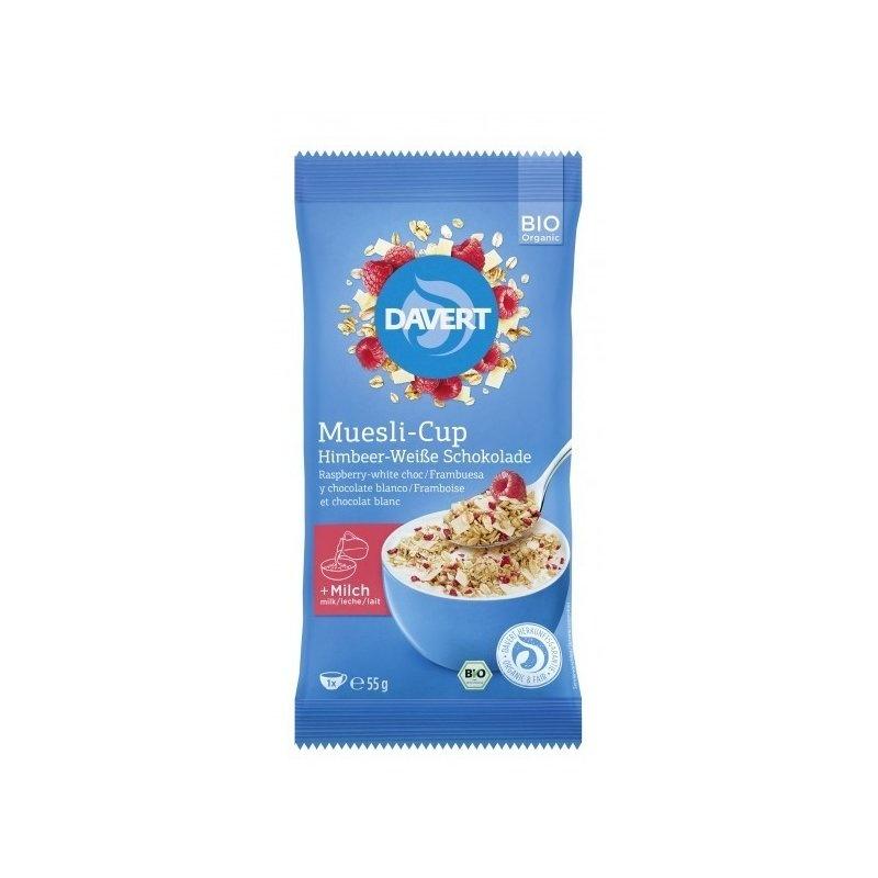 Musli-Cup zmeura si ciocolata alba bio 55g DAVERT