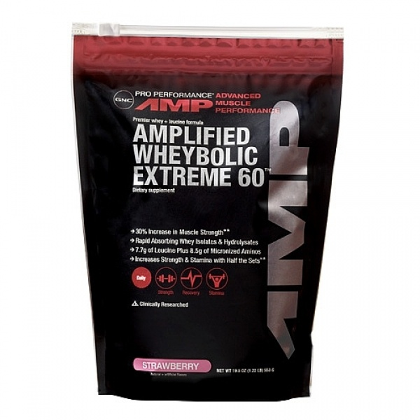 GNC Pro Performance AMP Amplified WheyBolic Extreme 60 - Capsuni 553 g