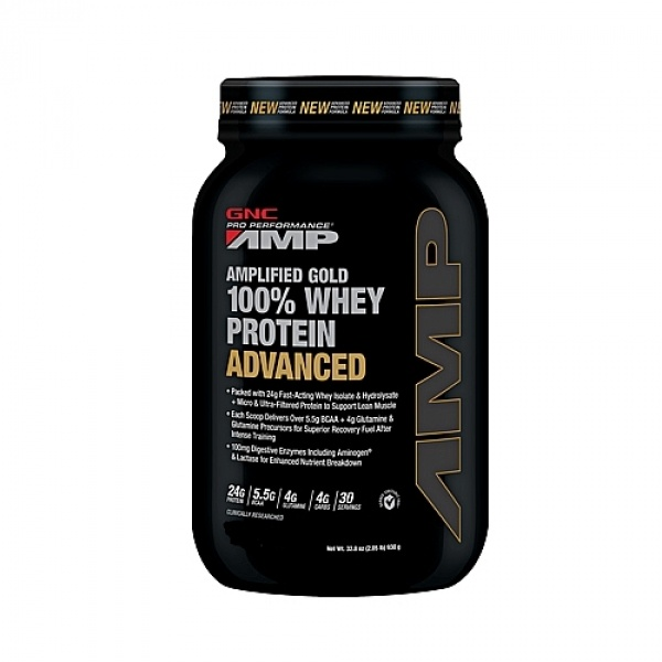 GNC PRO PERFORMANCE AMP AMPLIFIED GOLD 100% PROTEINA DIN ZER ADVANCED - BISCUITI SI FRISCA 930 g