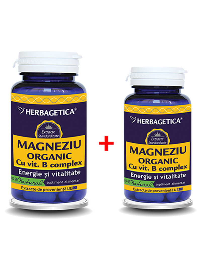 Magneziu organic Herbagetica 60 capsule + 10 grame gratis