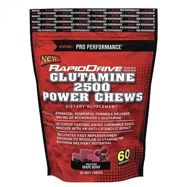 GNC Pro Performance RapidDrive Glutamina 2500 mg-Aroma de struguri 60 caramele