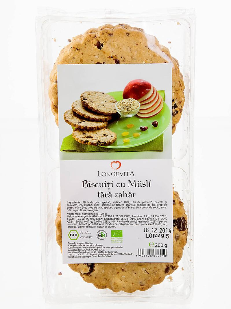 Biscuiti cu musli fara zahar BIO Longevita 200 g