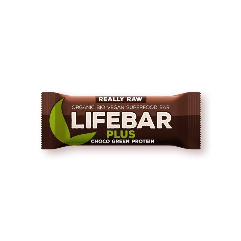 Lifebar Plus baton cu proteine si ciocolata raw bio 47g PROMO