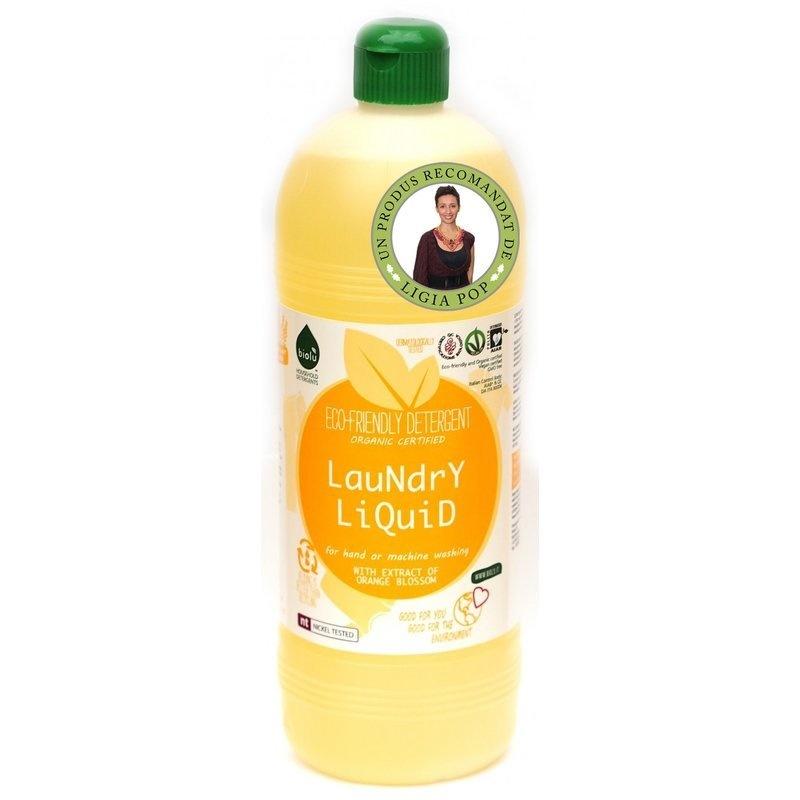 Detergent ecologic lichid pentru rufe albe si colorate portocale 1L Biolu