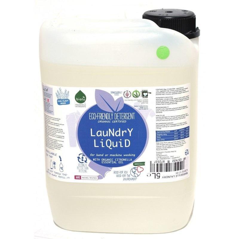 Detergent ecologic lichid pentru rufe albe si colorate lamaie 5L Biolu
