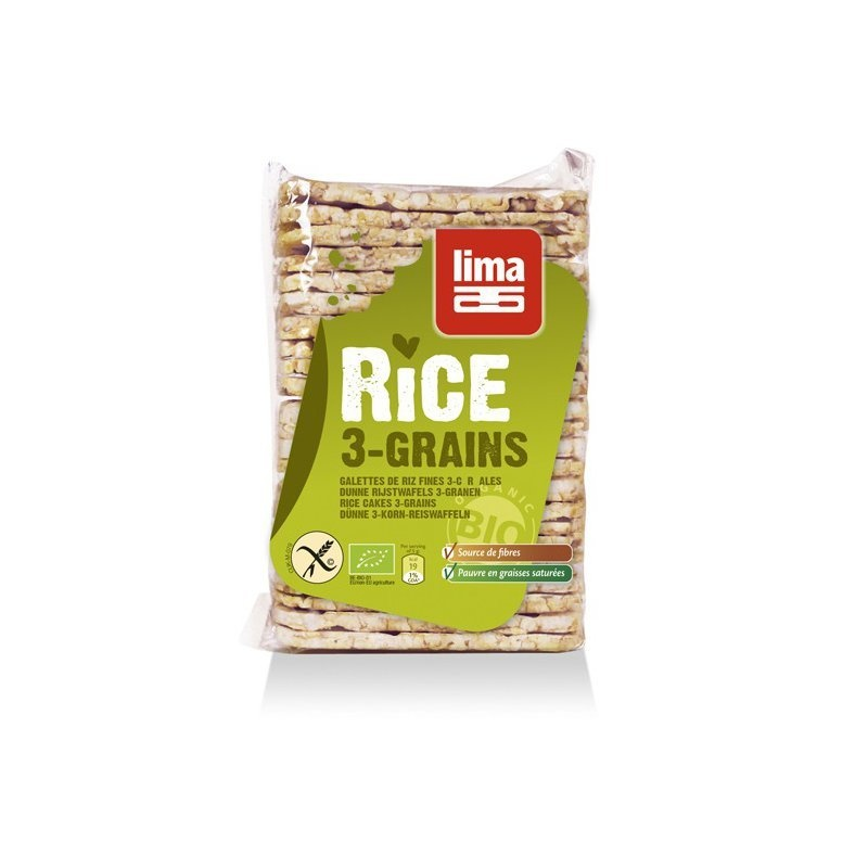 Rondele de orez expandat cu 3 cereale bio 130g Lima PROMO