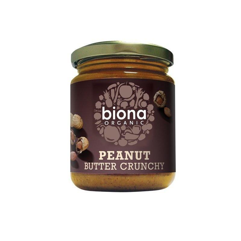 Unt de arahide crunchy fara sare bio 250g Biona
