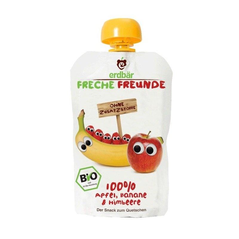 Piure de banane, mere si zmeura bio 100g Erdbar
