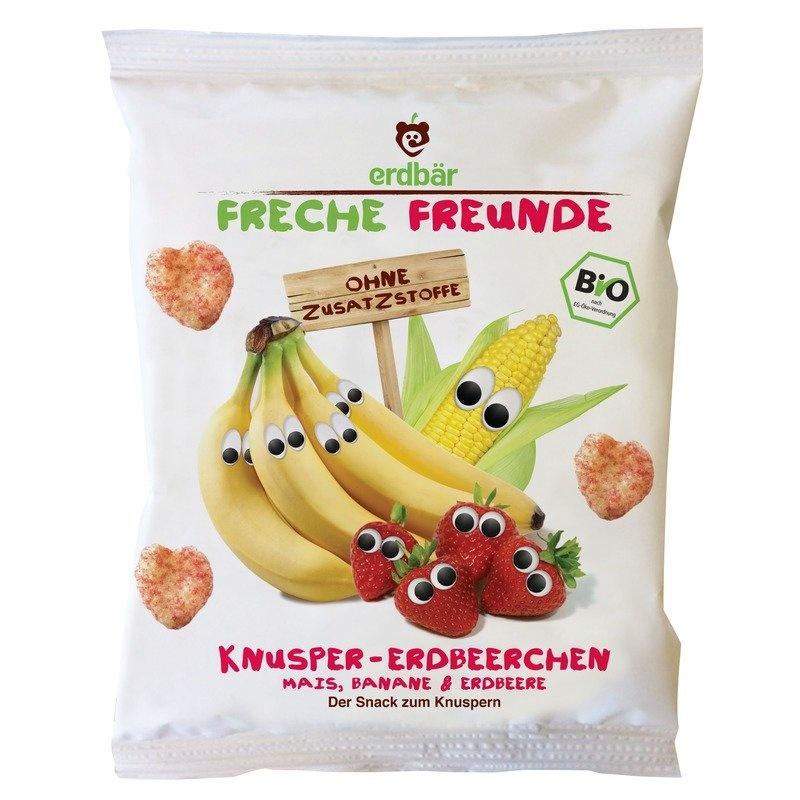 Gustare crocanta cu banane si capsuni bio 25g Erdbar
