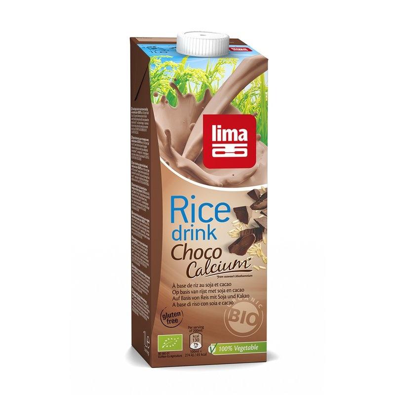 Lapte de orez cu ciocolata, soia si calciu bio 1L Lima
