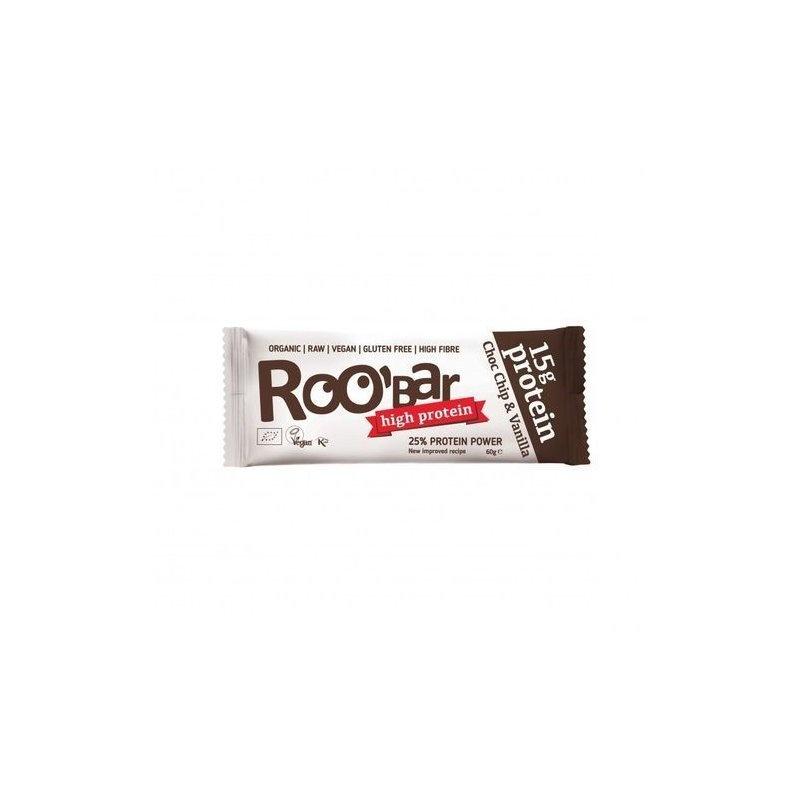 Baton proteic cu ciocolata si vanilie raw bio 60g Roobar