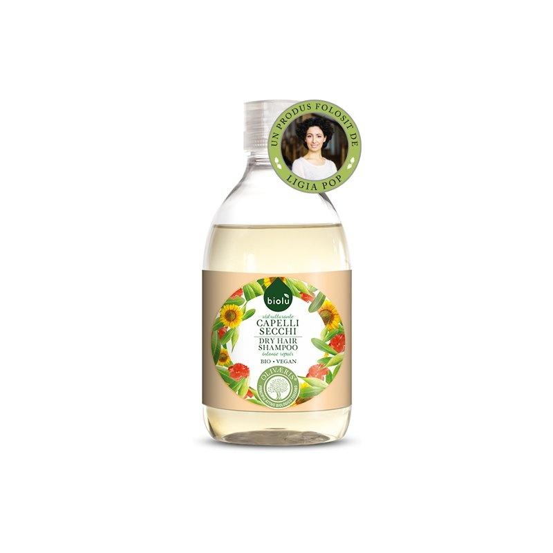 Sampon ecologic cu ulei de masline pentru par uscat/vopsit 300ml Biolu 1 + 1 Gratis