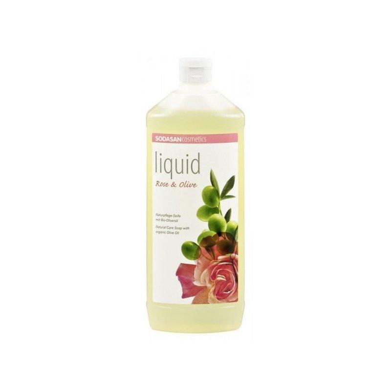 Sapun Lichid/Gel De Dus Bio Trandafir-Masline 1 L Sodasan